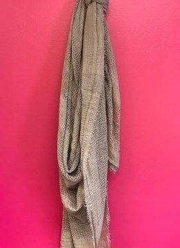 Mocha Shredded Weave Open Blanket Scarf