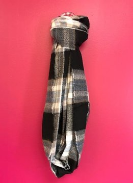 Blue and Black Plaid Flannel Infinity Scarf with Fringe