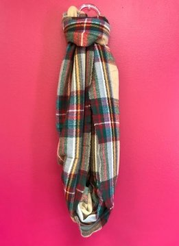 Blue and Khaki Plaid Flannel Infinity Scarf with Fringe