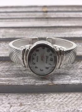 Silver Cuff Watch with Oval Face
