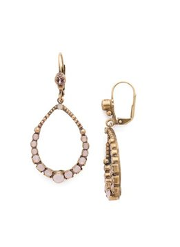 Sorrelli Gold French Wire Dangle Hoop Earrings Pink Peony