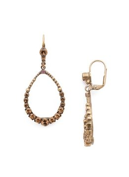 Sorrelli Gold French Wire Dangle Hoop Earrings Rustic Bloom