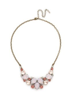 Sorrelli Gold Statement Necklace Pink Peony