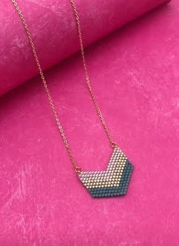 Gold Seed Bead Striped Blue Chevron Pendant