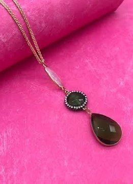 Long Gold Necklace with Green Gemstone Pendant