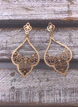 Gold Filigree Tear Drop Earrings