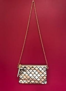 Silver Cross Body Purse with Sequins