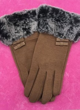 Beige Gloves with Faux Fur