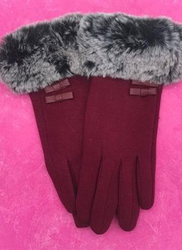 Red Gloves with Faux Fur