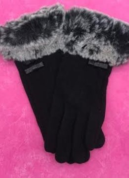 Black Gloves with Faux Fur