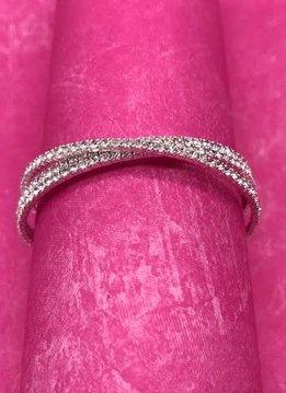 Silver Cuff Bracelet with Clear Rhinestones