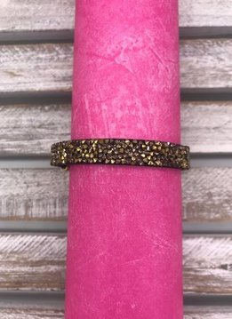 Black Bracelet with Champagne Colored Rhinestones