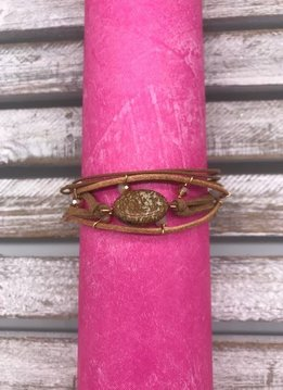Tan Wrap Bracelet with Natural Stone and Magnetic Closure