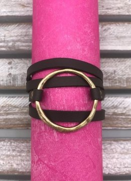 Brown and Gold Magnetic Layered Bracelet