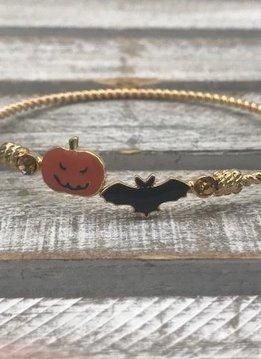 Gold Halloween Bracelet with Bat and Pumpkin