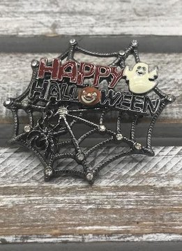Happy Halloween Spider Web Broach