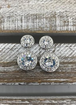 Swarovski Crystal Round Two Layered Drop Silver Earrings