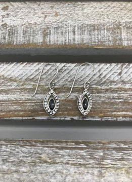 Sterling Silver Dangle Earrings with Marquise Shape and Gray Swarovski Crystal