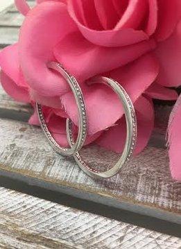 Swarovski Crystal Inside Outside Silver Hoop Earrings