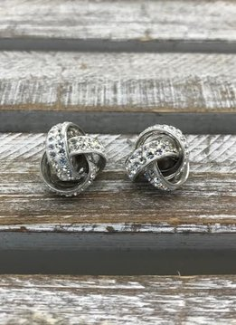 Sterling Silver Love Knot Stud Earrings, with Clear Swarovski Crystals