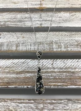 Sterling Silver Necklace and Tear Drop Pendant with Black and Gray Swarovski Crystals