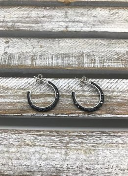Sterling Silver Hoop Earrings with Hematite Swarovski Crystals