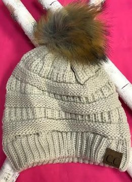 Beige Winter Hat with Natural Faux Pom