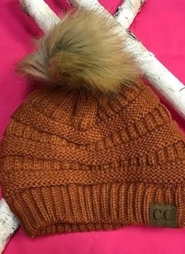 Rust Winter Hat with Natural Faux Pom