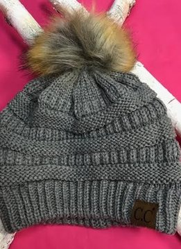 Light Gray Winter Hat with Natural Faux Pom