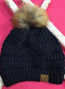 Navy Winter Hat with Natural Faux Pom