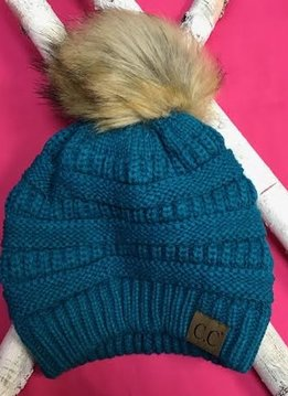 Teal Winter Hat with Natural Faux Pom