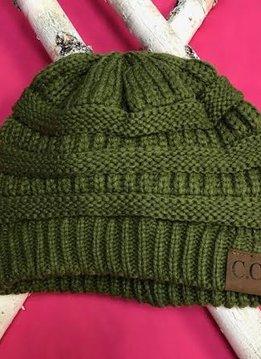 Olive Knit Beanie Winter Hat