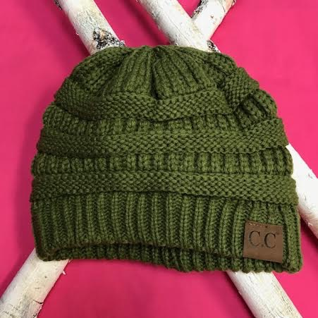 Olive Knit Beanie Winter Hat