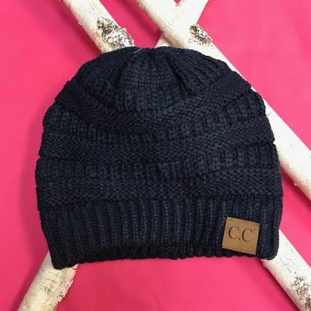 Navy Knit Beanie Winter Hat
