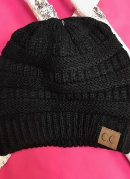 Black Knit Beanie Winter Hat