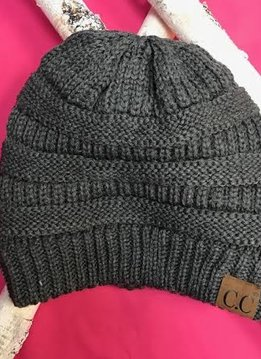 Dark Gray Knit Beanie Winter Hat