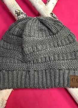 Light Gray Knit Beanie Winter Hat