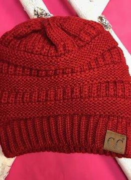 Red Knit Beanie Winter Hat