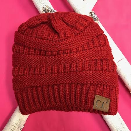 Red Knit Beanie Winter Hat