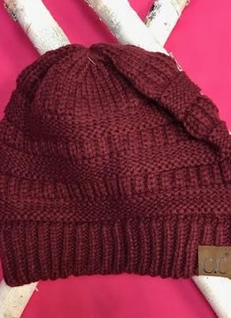 Burgundy Knit Beanie Winter Hat