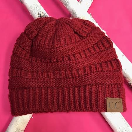 Maroon Knit Beanie Winter Hat