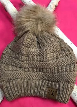 Taupe Knit Winter Hat with Color Matched Pom