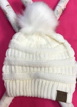 Ivory Knit Winter Hat with Color Matched Pom