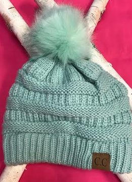 Mint Knit Winter Hat with Color Matched Pom