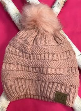 Indigo Pink Knit Winter Hat with Color Matched Pom