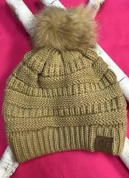 Camel Knit Winter Hat with Color Matched Pom