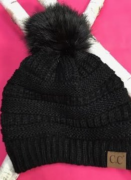 Black Knit Winter Hat with Color Matched Pom