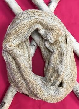Ivory and Gold Metallic Infinity Scarf