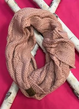 Indigo Pink Knit Winter Infinity Scarf