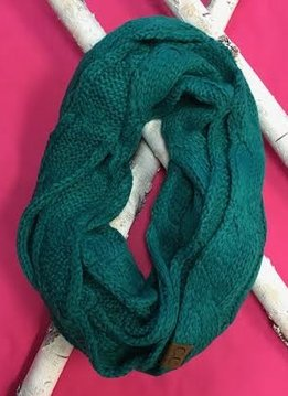 Sea Green Knit Winter Infinity Scarf